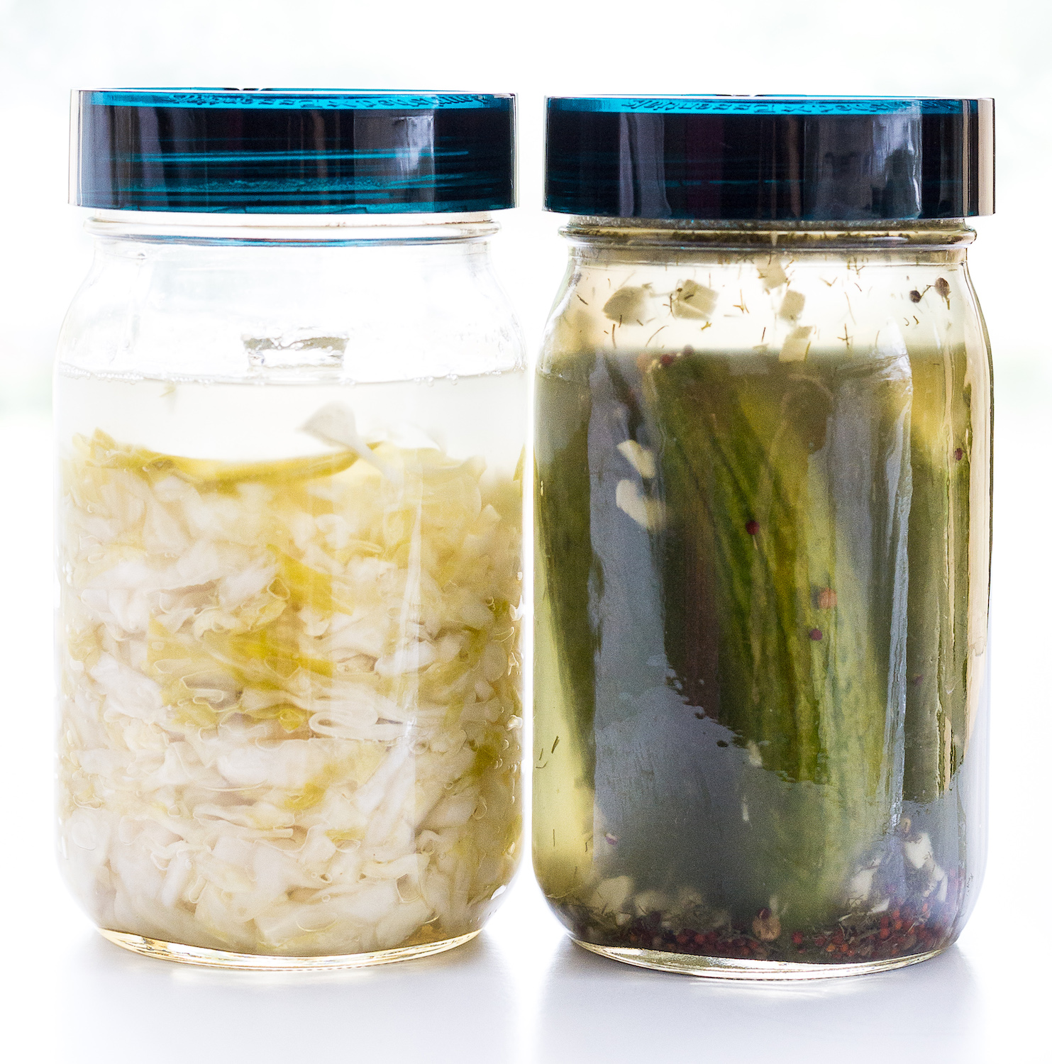 Day 7 and Day 4 Sauerkraut and Pickles by An Unrefined Vegan