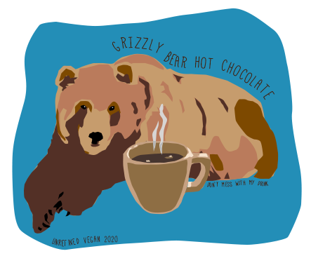 Grizzly Bear Hot Chocolate Illustration by Unrefined Vegan
