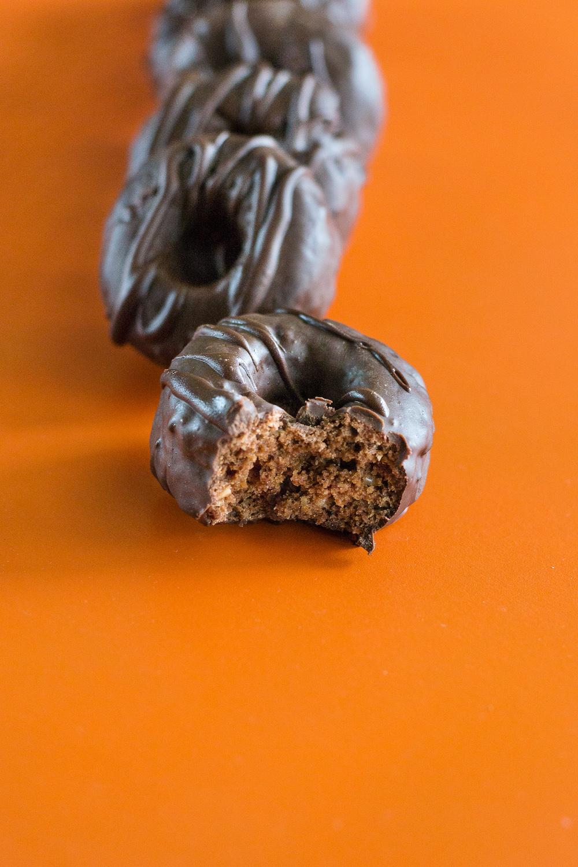 GF Chocolate-coated Mini Chocolate Doughnuts by Unrefined Vegan