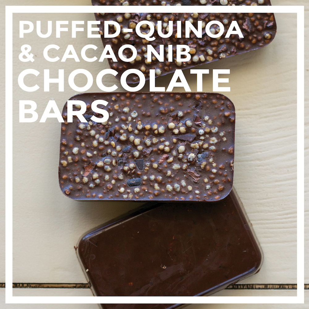 Sugar-free Puffed Quinoa & Cacao Nib Chocolate Bars by Unrefined Vegan