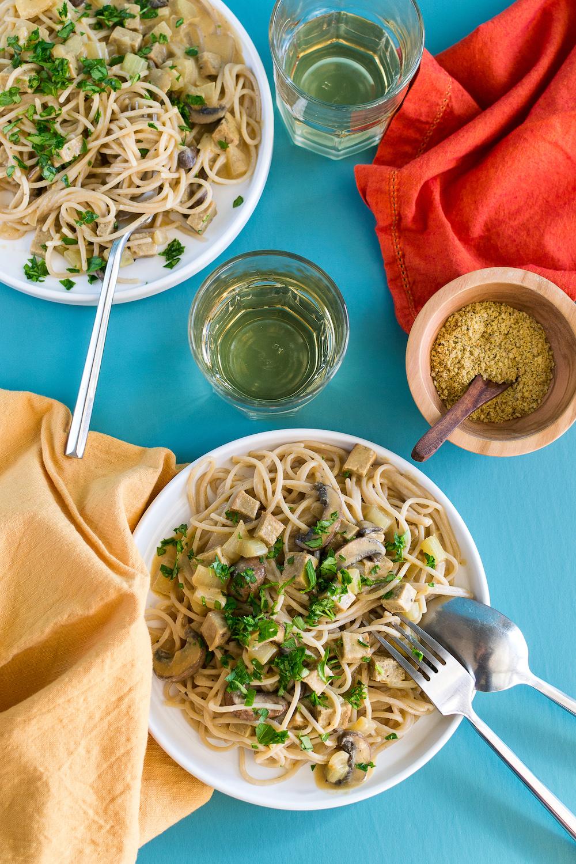 Creamy Pasta with Turk'y & Mushrooms by Unrefined Vegan